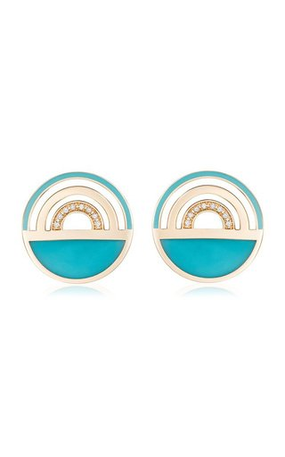 Ready 2 Travel Enameled 18K Yellow Gold Diamond, Turquoise Earrings
