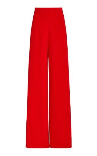 Wool Crepe High-Rise Wide-Leg Trousers