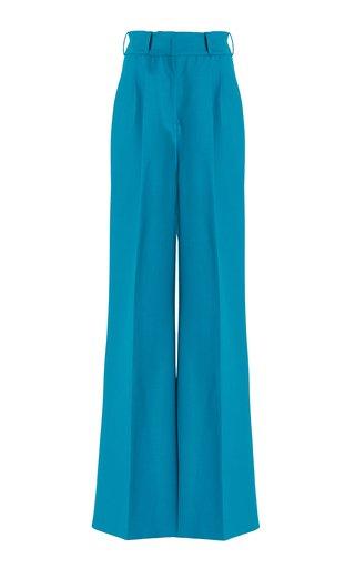 Pleated Wool-Gabardine Wide-Leg Trousers