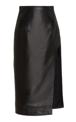 Sculpted Leather Midi Skirt