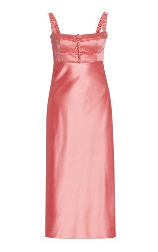 Angela Satin Buster Midi Dress