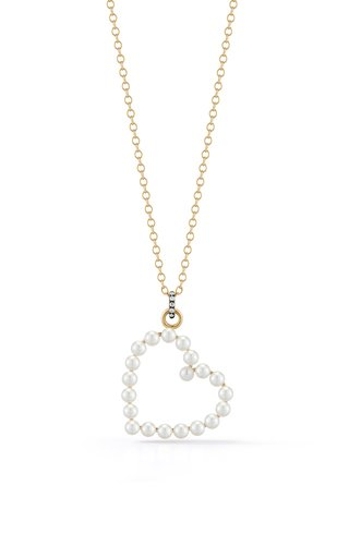 One of a Kind 18K Yellow Gold Prive Pearl Heart Necklace