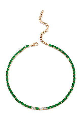 One of a Kind 18K Rose Gold Diamond & Emerald Tennis Necklace