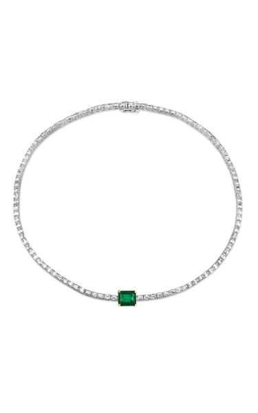 One of a Kind 18K White Gold Diamond & Emerald Baguette Tennis Necklace