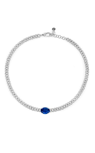 One of a Kind 18K White Gold Blue Ceylon Sapphire Pave Mini Link Necklace