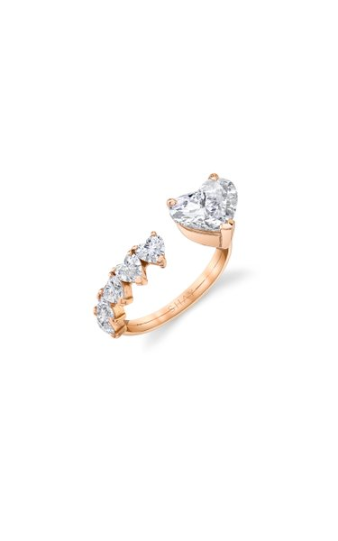 One of a Kind 18K Rose Gold Yellow Diamond Floating Heart Ring