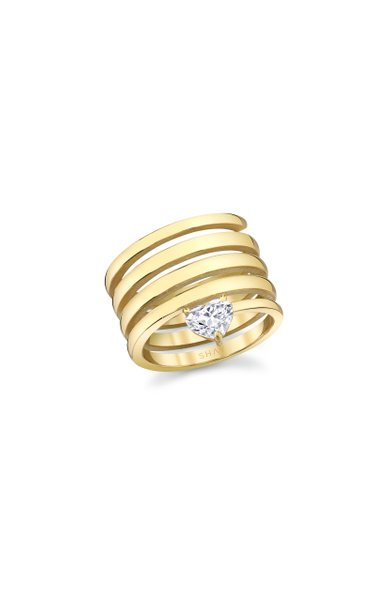 One of a Kind 18K Yellow Gold Gold Spiral Diamond Heart Ring
