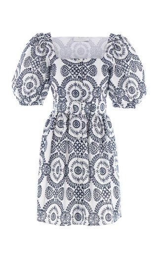 Dominique Broderie Anglaise Mini Button Front Dress