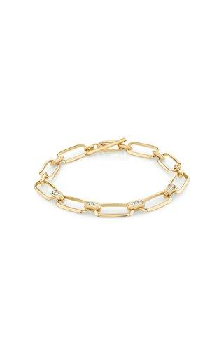 18K Yellow Gold Knife Edge Flat Link Bracelet With Carre Bridges