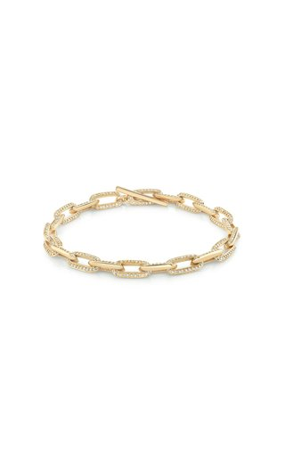 18K Yellow Gold One-Sided Pave Knife Edge Oval Link Bracelet