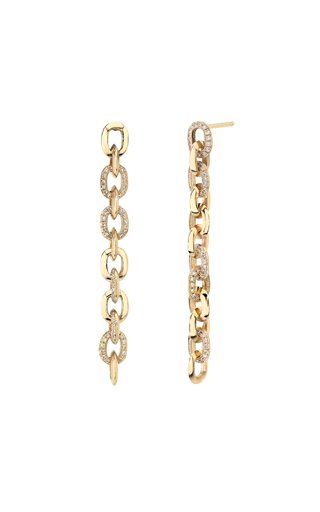 18K Yellow Gold Mixed XS Link Pave Drop Earrings