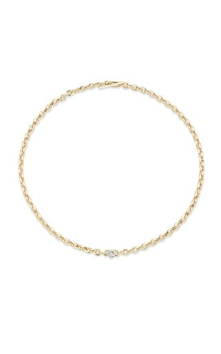 18K Yellow Gold XS Knife Edge Oval Link Necklace