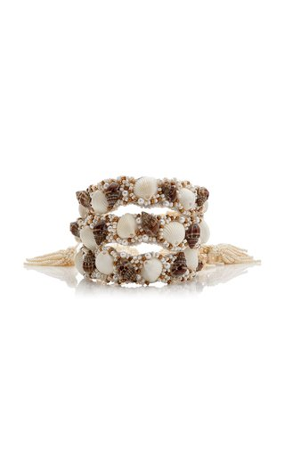 Exclusive Set-Of-Three Beaded Leather and Shell Bracelets