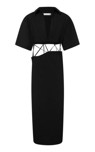 Tie-Detailed Wool Midi Shirt Dress