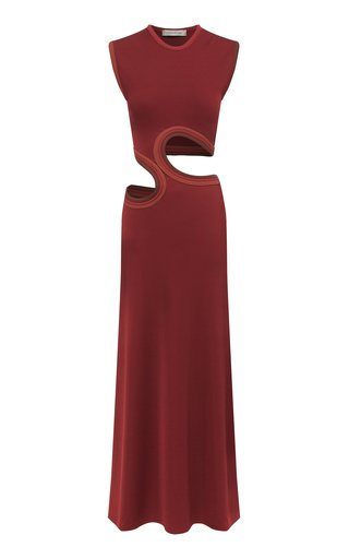 Cutout Ribbed-Knit Maxi Dress