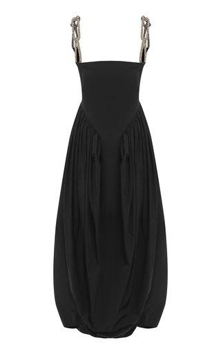 Crystal-Trimmed Poplin Midi Cocoon Dress