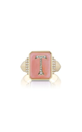 18K Yellow Gold Pink Opal Initial Signet Ring