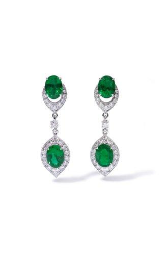 One Of A Kind Salavetti 18K White Gold Emerald & Diamond Drop Earrings