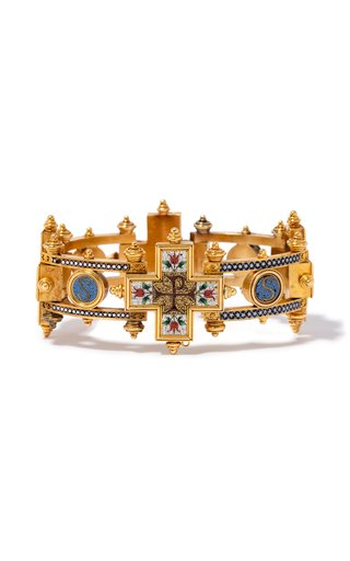 One Of A Kind 18K Yellow Gold Italian Mosaic Antique Bracelet