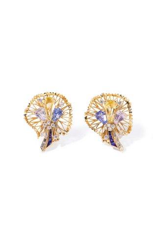One Of A Kind Oscar Heyman 18K Yellow Gold & Platinum Sapphire & Diamond Earrings