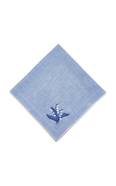 Blue Lily Of The Valley Picot Edge Linen Napkin