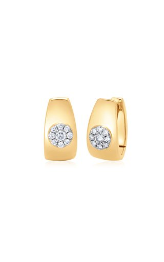 Aurora 18K Yellow Gold Diamond Huggie Earrings