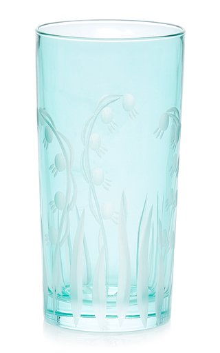 Set Of 4, Lily Of The Valley Engraved Highball Crystal Glasses