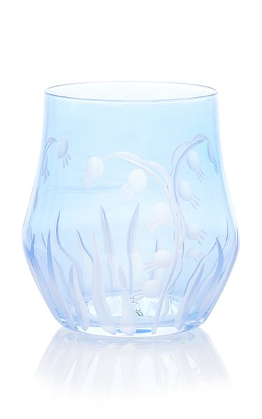 Set Of 4, Lily Of The Valley Engraved Wine Crystal Glass