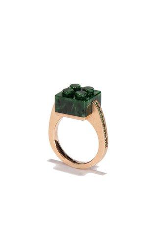 18K Rose Gold Jade Block