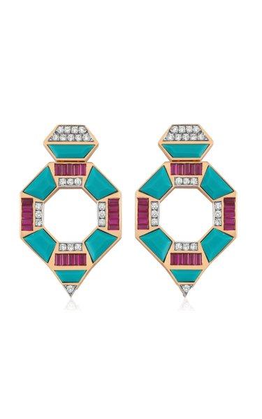 Deep Sea 14K Rose Gold Turquoise, Ruby, Diamond Earrings
