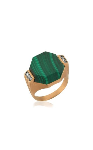 Deep Sea 14K Rose Gold Malachite Ring