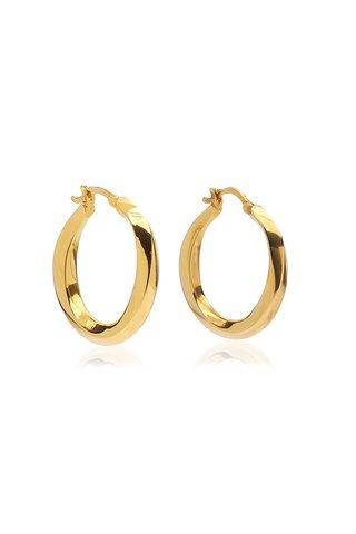 Medium Swirl 14K Gold-Plated Hoop Earrings