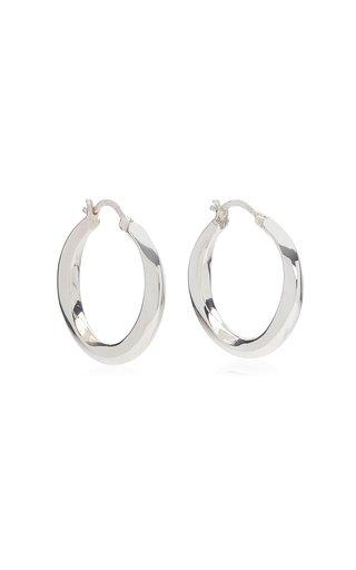 Medium Swirl Sterling Silver Hoop Earrings