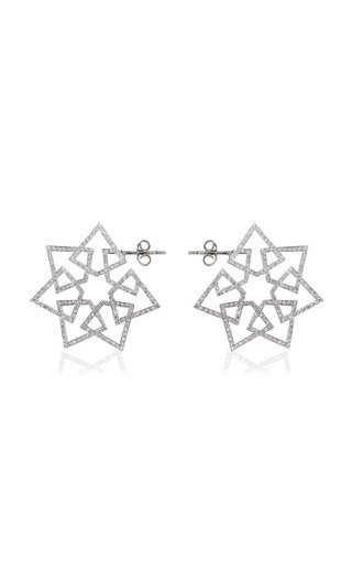 Arabesque Deco 18K White Gold Diamond Earrings