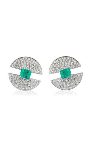 Modernist 18K White Gold Diamond, Emerald Earrings