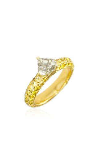 Modernist 18K Yellow Gold Diamond, Sapphire Ring