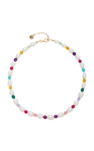 Rainbow Pearl, Calcedony Necklace