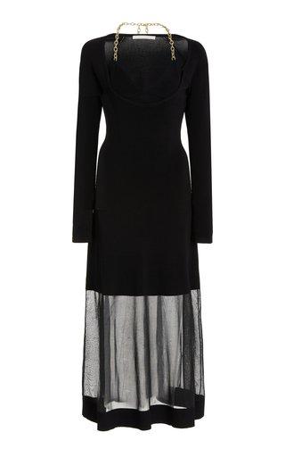 Aaliyah Chain-Detailed Layered Knit Midi Dress