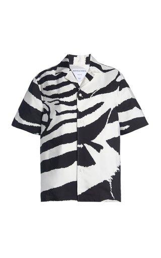 Zebra-Print Crepe Parachute Shirt