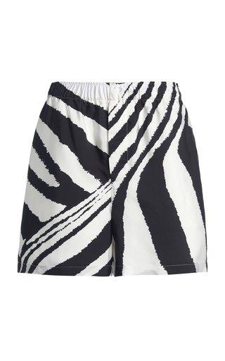 Zebra-Print Crepe Parachute Shorts