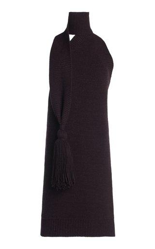 Tasseled Wool-Knit Mini Dress