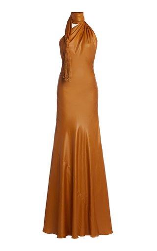 Tasseled Cintzed One-Shoulder Gown