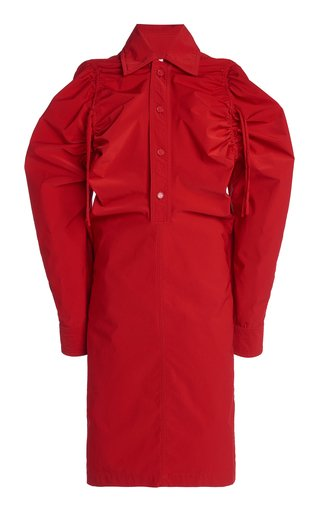 Drawstring-Detailed Tech-Wool Midi Shirt Dress