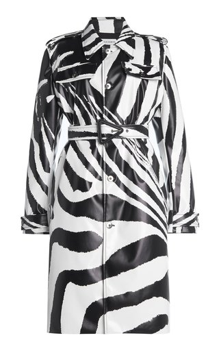 Zebra-Print Rubber-Coated Coat