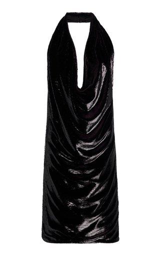 Draped Metallic Velvet Mini Halter Dress