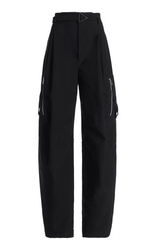 Pleated Tech-Wool Tapered Trousers