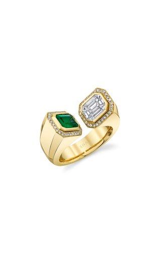 18K Yellow Gold Diamond & Emerald Halo Bypass Ring