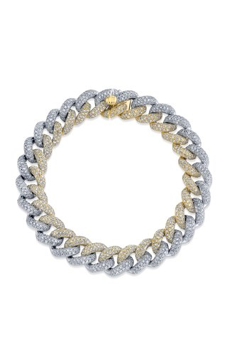 18K White Gold Two-Tone Pave Diamond Link Bracelet