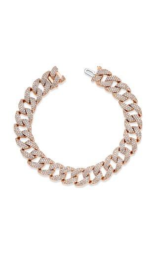 18K Rose Gold Pave Diamond Geo Link Bracelet