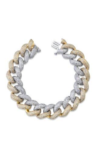 18K Yellow Gold Two-Tone Jumbo Pave Diamond Link Bracelet